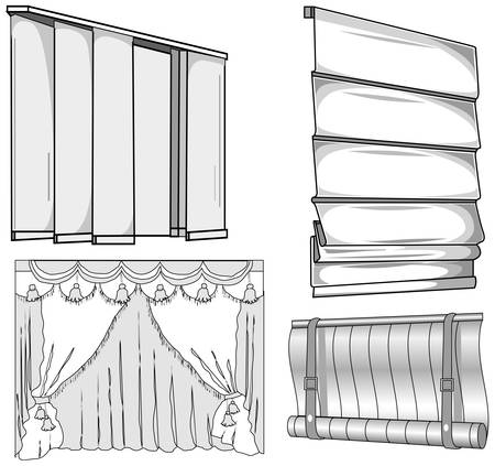 Curtains, jalousie, horizontal and vertical, closed, pattern illustration