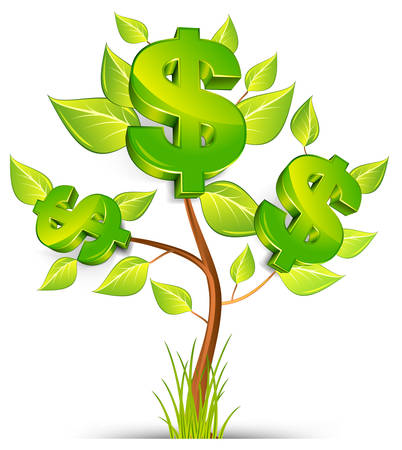 Green tree growing currency with dollar sign on white background