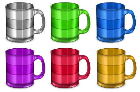 Colorful  big cups on white background, vector illustration