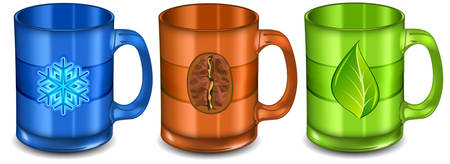 Three colorful  cups with pattern on white background, vector illustration