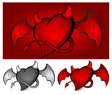 Devil red heart with horns, tail and wings