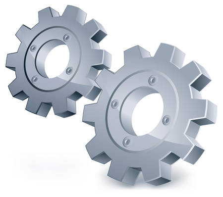Illustration pour gears, isolated object on white background, technical, mechanical illustration - image libre de droit