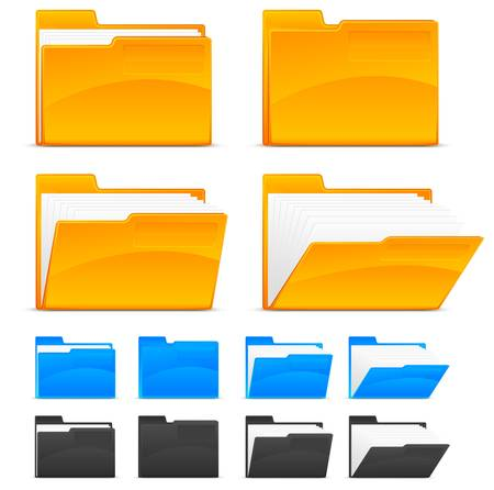 Illustration pour Folder icons, isolated on white background - image libre de droit