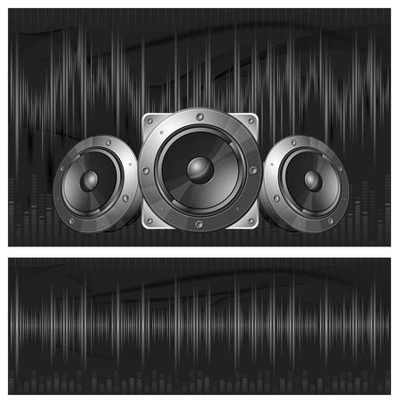 Graphic equalizer display, sound waves and speaker, vector illustration
