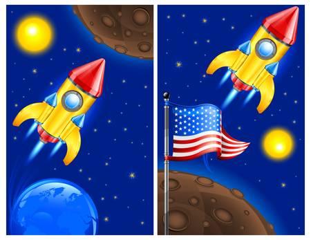American retro rocket ship space vehicle blasting off into sky, vector illustration.