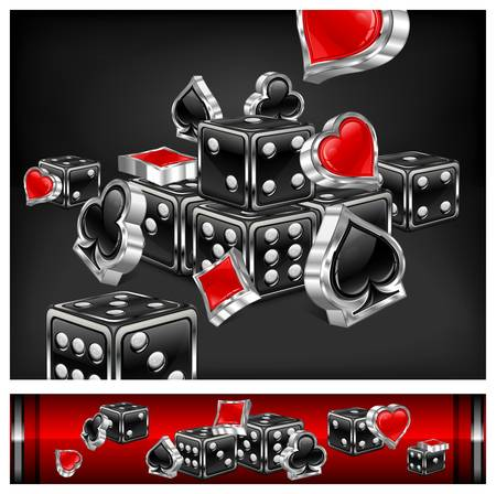 Casino background, dices and card icon on black, vector illustration