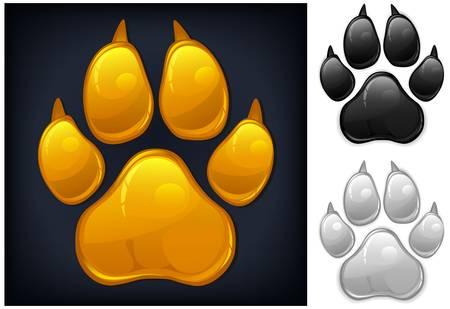 Yellow animal paw print isolated on black, vector illustration