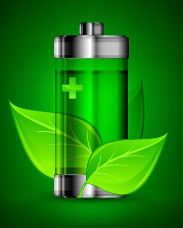 Energy battery with green leaves, ecology concept
