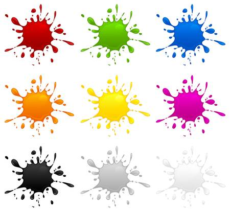 Set of different color inkblots on white background, vector illustration