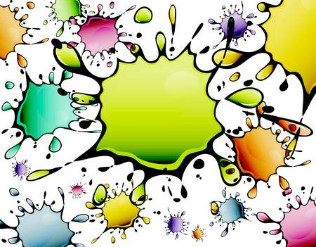 Different color inkblots, abstract background, vector illustration
