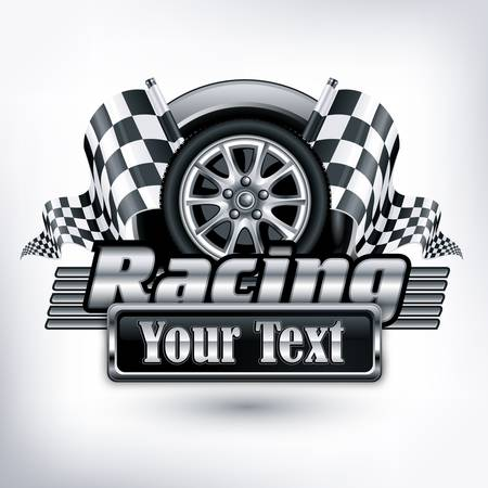 Illustration pour Racing emblem, crossed checkered flags, wheel text on white,  illustration  - image libre de droit