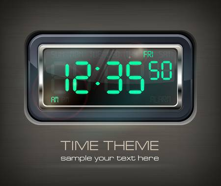 Digital watch black with green dial & text