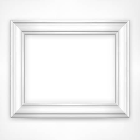 Picture white wooden frame isolated on white, vector illustration