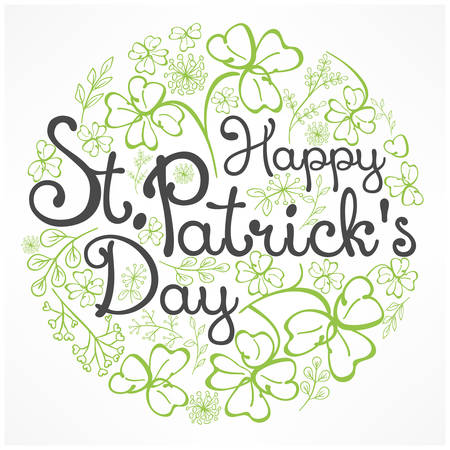 Ilustración de Handdraw lettering for greeting card of St. Patrick's day, inscription text on floral pattern. Vector illustration - Imagen libre de derechos