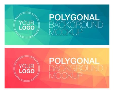 Illustration pour Horizontal colorful vibrant modern polygonal banner mock ups - image libre de droit