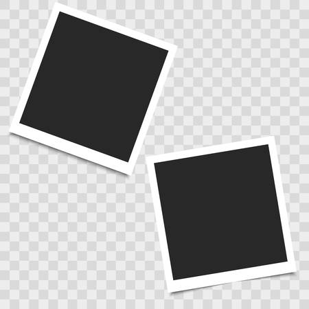 Illustration pour Realistic empty photo frame on transparent background. Vector illustration for your design. - image libre de droit