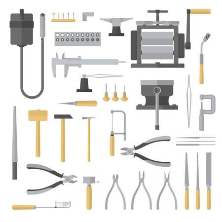 Illustration pour Set of jewelry tools. Goldsmith. Jewelers accessories. Vector illustration - image libre de droit