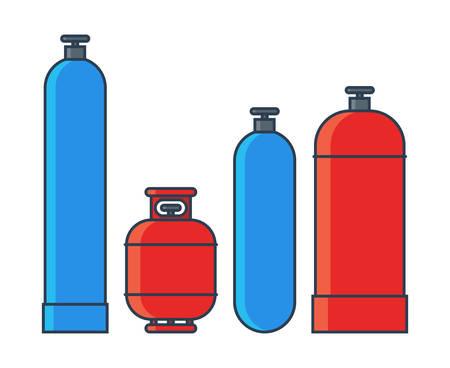 Illustration pour Gas tanks set. Various gas tanks in flat line style. Vector illustration - image libre de droit