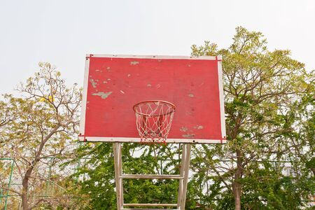 red wooden basketball goal for competition game