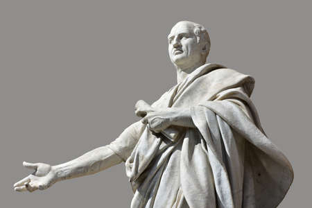 Cicero marble statues in front of Rome Old Palace of Justice with gray background
