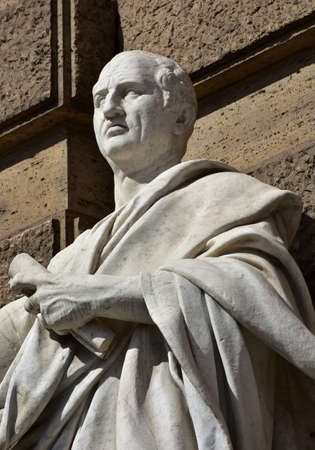 Detail of Cicero marble statue in front of Rome Old Palace of Justice