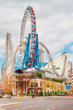 Tokyo, Japan, February 17, 2019: Tokyo Dome City Attractions, a popular amusement park in the center of the city