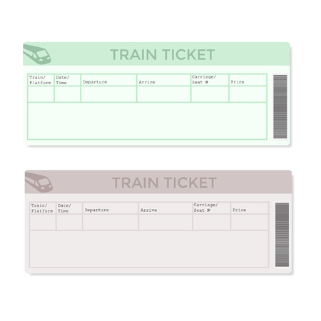 Train tickets in two versions light color. Vector illustration.