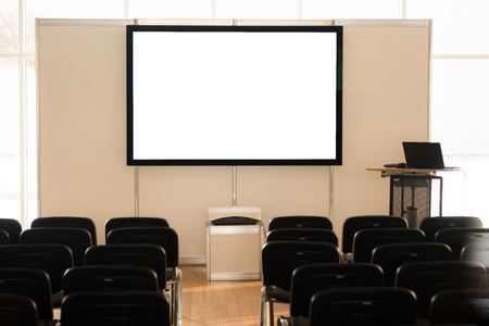 Photo pour Empty screen in conference room, meeting room, boardroom, Classroom, Office, with white projector board. - image libre de droit