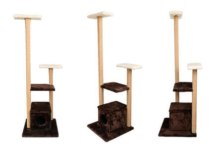 Photo pour Cat house isolated on white background. Different angles of cat tree. Pet scratch tower stand. Nobody. - image libre de droit