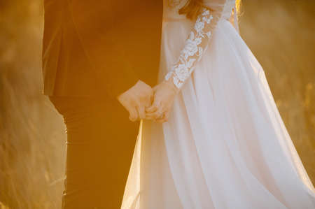 Photo pour A photo of a couple holding hands in the field in the sunlight. - image libre de droit