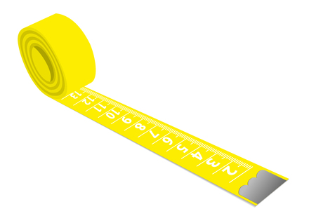 Illustration of a yellow measuring tape isolated on white background