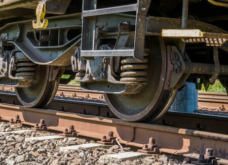 Photo pour Close up with train wheels on track. Wheels of a train on the railway tracks. - image libre de droit