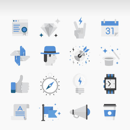 Set of modern Icons Executed in Flat style. Business theme, start-up, promotion, services, and marketing.