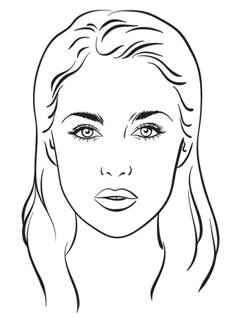 Illustration for Beautiful woman portrait. Face chart Makeup Artist Blank Template. Vector illustration - Royalty Free Image