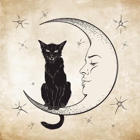 Illustration pour Black cat sitting on the moon. Wiccan familiar spirit vector illustration - image libre de droit