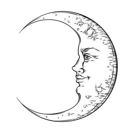 Illustration pour Antique style hand drawn art crescent moon. Boho chic tattoo design vector illustration - image libre de droit