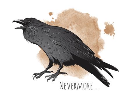 Illustration pour Hand drawn raven on sepia background vector illustration. - image libre de droit