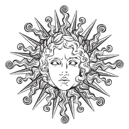 Illustration pour Hand drawn antique style sun with face of the greek and roman god Apollo. Flash tattoo or print design vector illustration. - image libre de droit