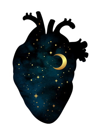 Illustration pour Silhouette of human heart with universe inside. Crescent moon and stars. Sticker, print or tattoo design vector illustration isolated - image libre de droit