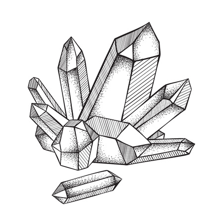 Illustration pour Crystals druse isolated on white background hand drawn line art and dot work vector illustration. Black work, flash tattoo or print design. - image libre de droit