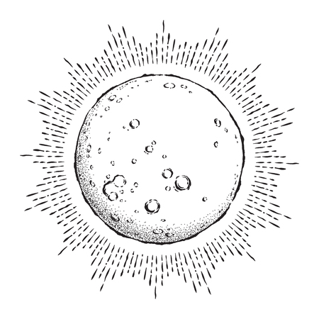 Ilustración de Antique style hand drawn line art and dot work full moon with rays of light. - Imagen libre de derechos