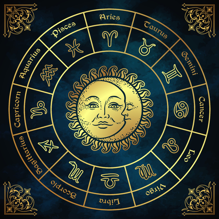 Illustration pour Zodiac circle with horoscope signs, sun and moon hand drawn vintage style vector illustration design. - image libre de droit