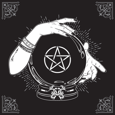 Illustration pour Hand drawn magic crystal ball with pentagram star in hands of fortune teller line art and dot work. Boho chic tattoo, poster or altar veil print design vector illustration - image libre de droit