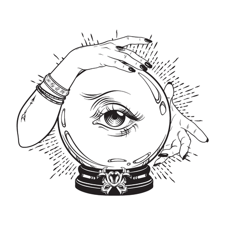 Illustration pour Hand drawn magic crystal ball with eye of providence in hands of fortune teller. Boho chic line art tattoo, poster or altar veil print design vector illustration - image libre de droit