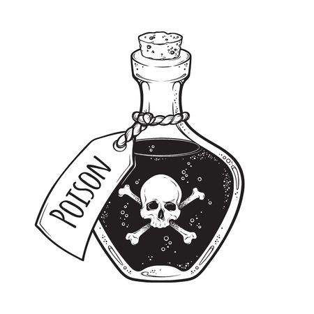 Illustration pour Poison in bottle line art and dot work hand drawn vector illustration. Boho style sticker, patch, print or blackwork flash tattoo design - image libre de droit