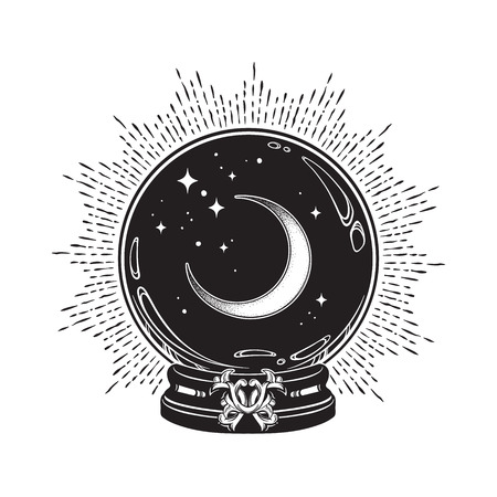 Illustration pour Hand drawn magic crystal ball with crescent moon and stars line art and dot work. Boho chic tattoo, poster or altar veil print design vector illustration - image libre de droit