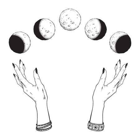 Illustration pour Hand drawn line art and dot work moon phases in hands of witch isolated. Boho chic flash tattoo, poster, altar veil or tapestry print design vector illustration - image libre de droit