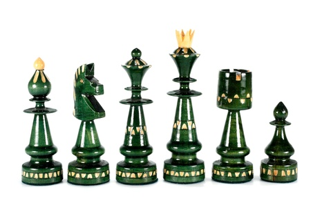 chess pieces queen bishop knight rook and pawn isolated on white
