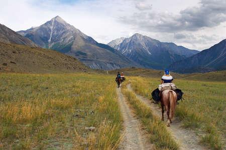 women on horseback. Altay