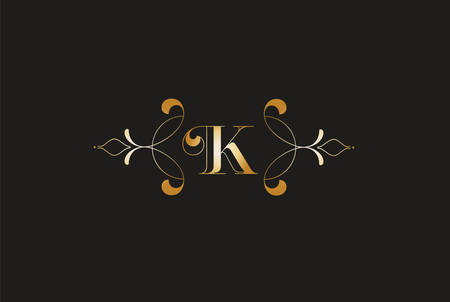 Elegant Letter K Golden Design Creative Monogram Logo